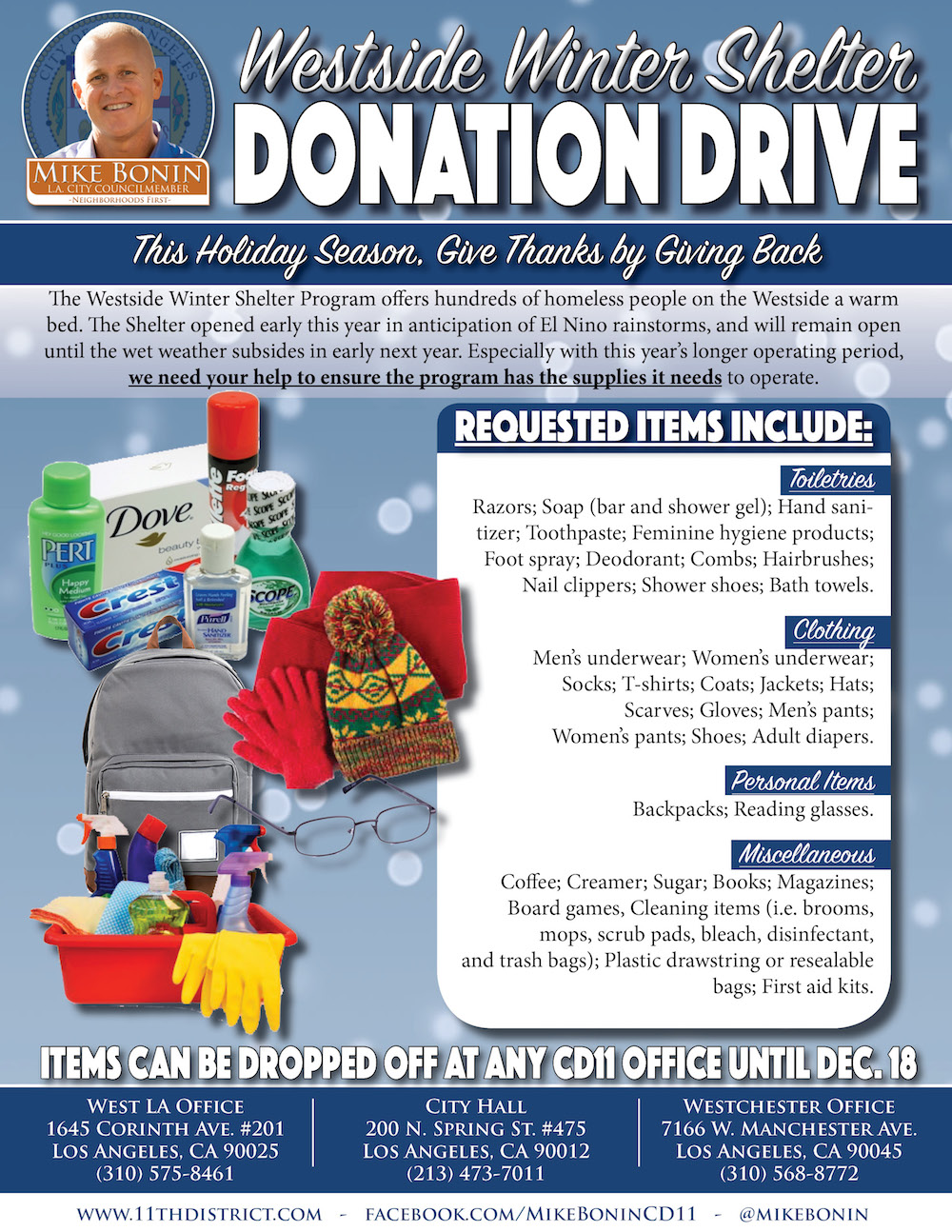 mike bonin winter shelter drive 2015