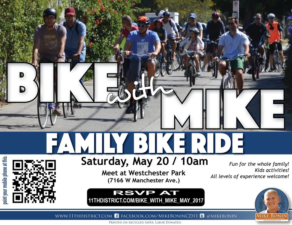 mike bonin bike ride westchester may 2017