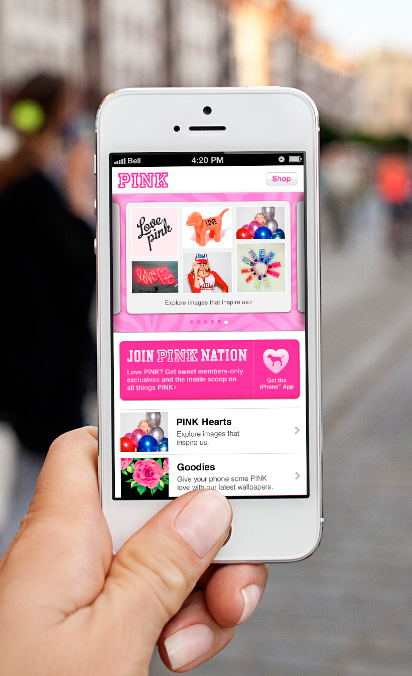 PINK NATION MOBILE SITE   Mobile Design