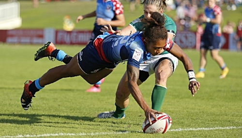 Bulou's first try for the Eagles at Dubai 7s.  Photo credit: Michael Lee / KLC fotos