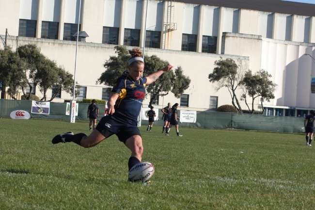 DC kicking for a conversion in the most recent D2 season vs. the Sacramento Amazons. Photo: Dasha Rychkova