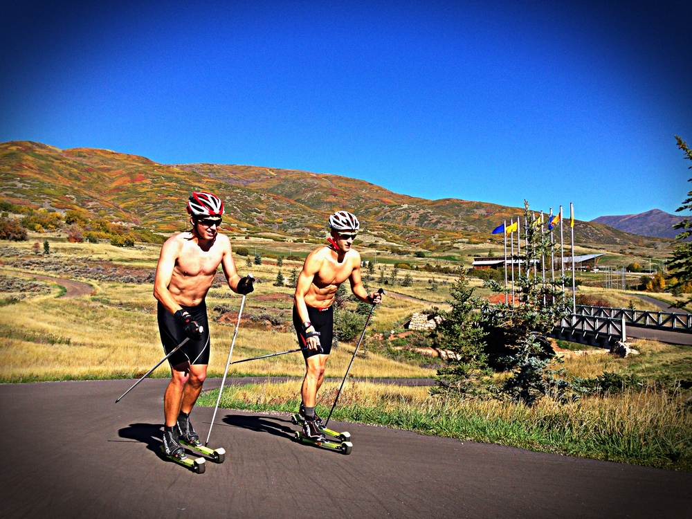 Alaska Pacific University athletes Eric Packer and Scott Patterson skiing on the Soldier Hollow track, the 2002 Olympic venue.