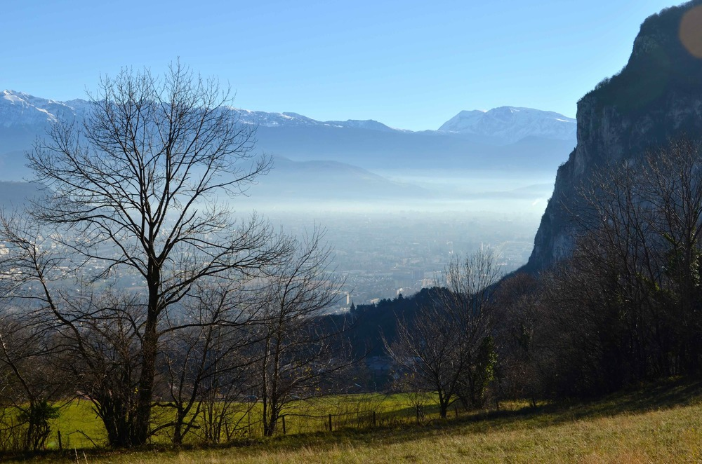 Grenoble is very close, just a 45 minute drive down a narrow road. This picture is taken right before the road drops into town.