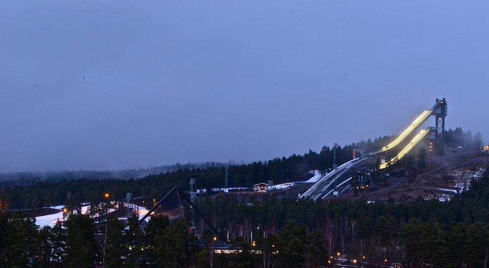 A view of the Falun jumps and ski course from our hotel room.