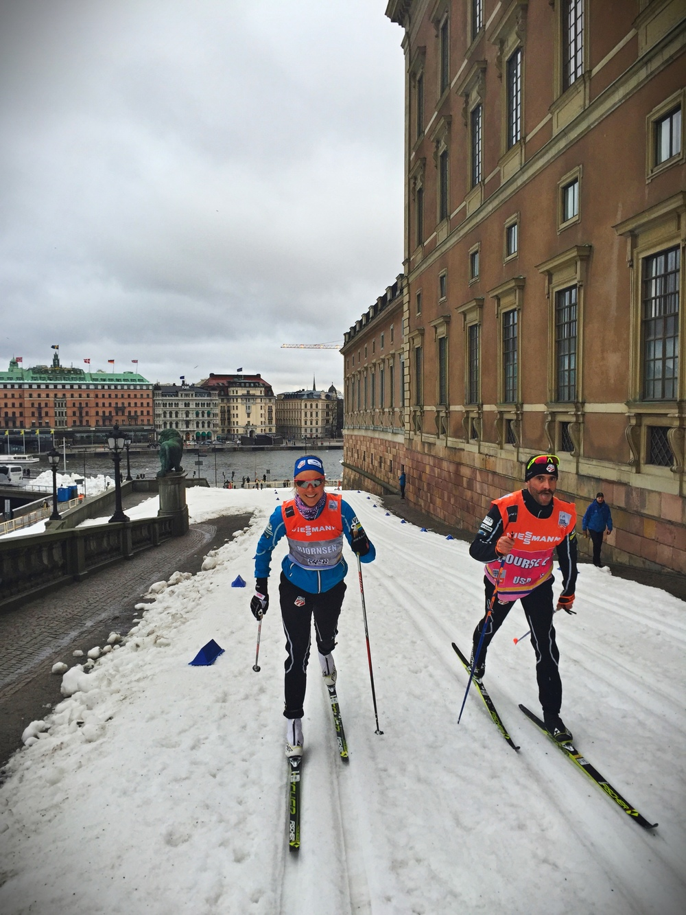 Sadie testing skis for a city sprint in Stockholm.