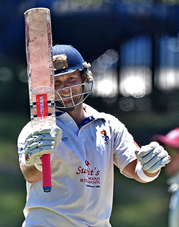 A dominant Will Hay celebrates his 2nd Grade century against Gordon at Uni No. 1 Oval. Image courtesy of David Stanton 2015.