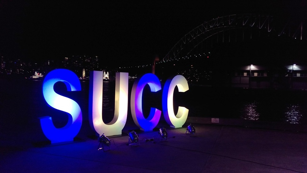 The stunning SUCC looking out at the Harbour Bridge and Luna Park