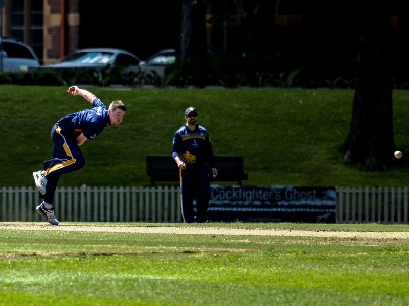 Tom Rogers sends one down, Ed Cowan awaiting a chance