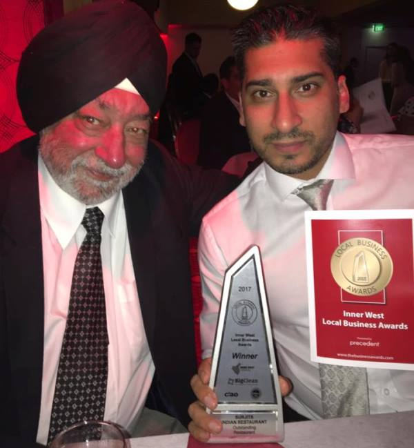 Surjits Success: - Surjits Indian Restaurant is the firstIndian restaurant to claim the covetedMost Outstanding Restaurant at theInner West Local Business Awardsin over 30 years.Congratulations to Surjit, Rasan and all ofthe team at Surjits Indian Restaurant!
