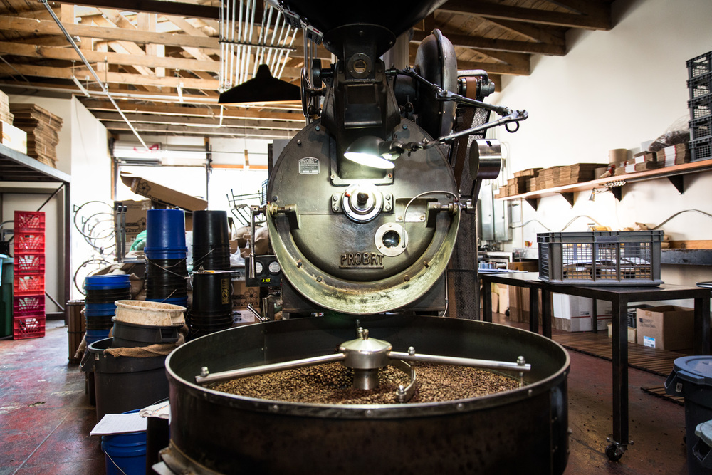 At the heart of Four Barrel is this Probat roasting machine from Germany.