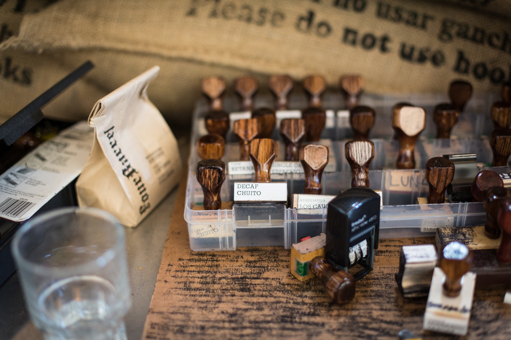 Rubber ink stamps for  Four Barrel's various roasts.