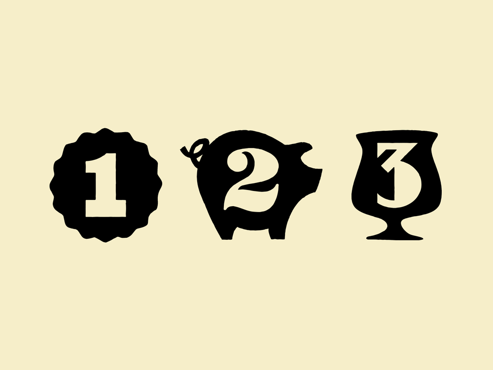 Custom, hand-drawn numerals for each level's unique restaurant