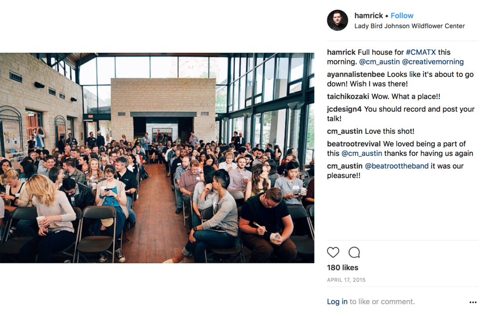 Creative Mornings - I am part of an esteemed alumnus of speakers at a global monthly speaking series called Creative Mornings, where each month, a prominent local creative speaks on a global them in over 150 cities worldwide.