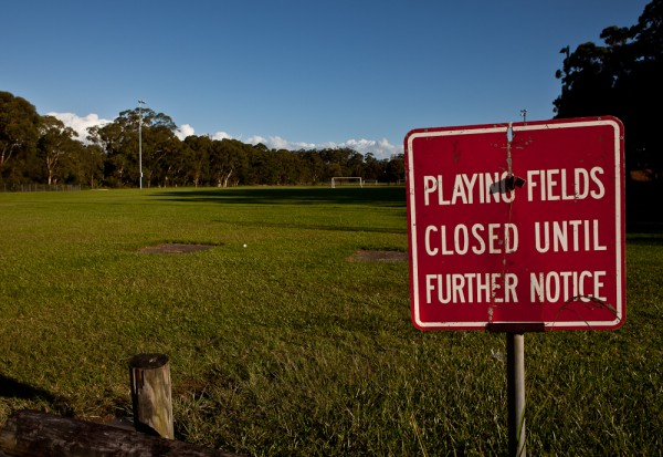 Water Covered Playing Field in Coffs Harbour