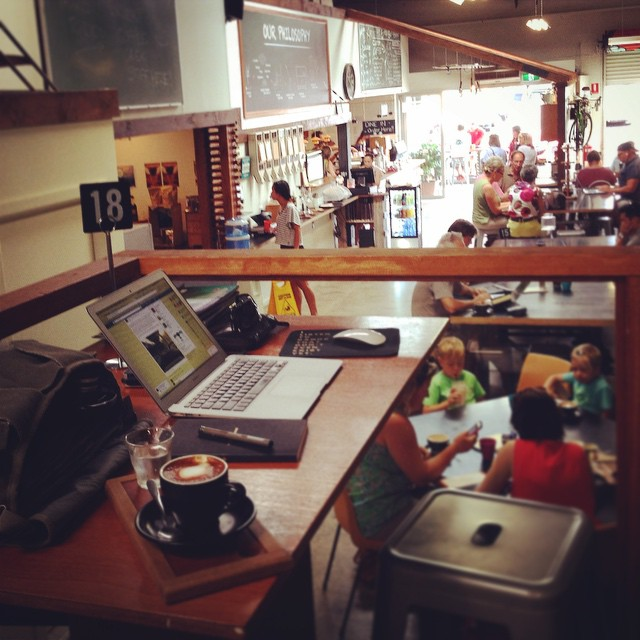 Working from Artisti cafe in Coffs Harbour - Cafe noise is great. Great coffee.