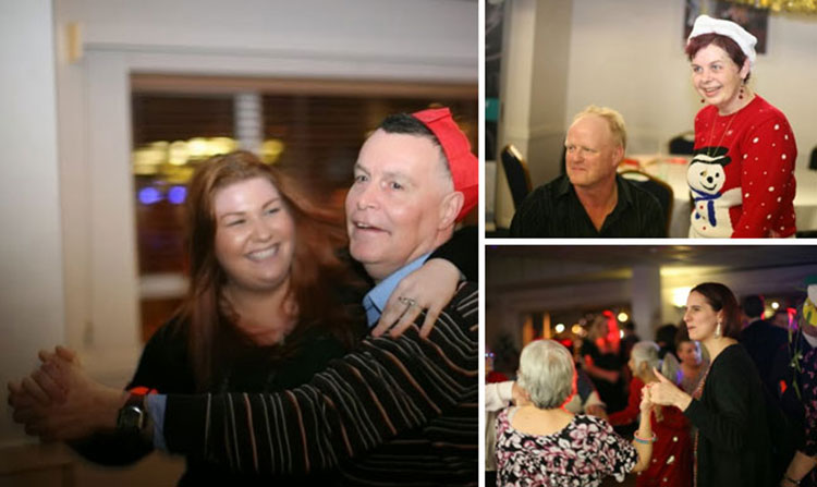 Left: Jade dances with  Chris. Top right, Tony Pillow with Karen. Bottom right, fun on the dance floor.