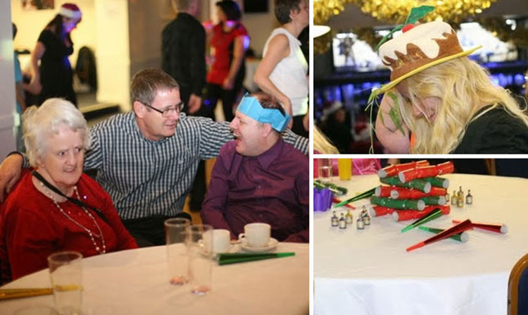 Left: John Smith catches up with June and Jason. Top right: Tara wears the best Christmas hat ever. Bottom right, the all important Christmas crackers.