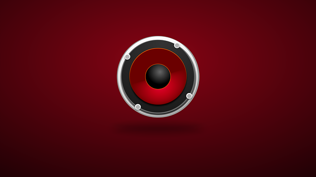 Audio speaker, red background