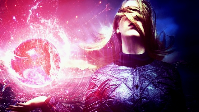 Girl holding a magical ball - gaming, fantasy, virtual reality image