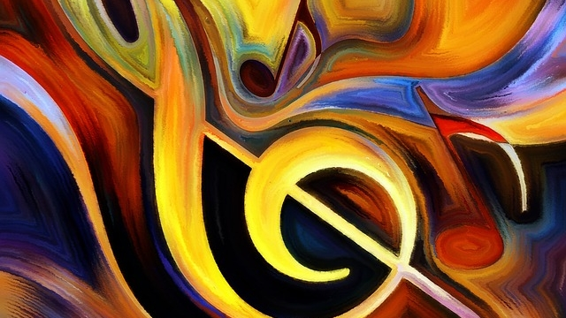 Treble clef and musical notes painting