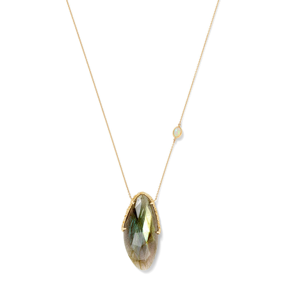 Oval Necklace, Large, in Labradorite and Opal
