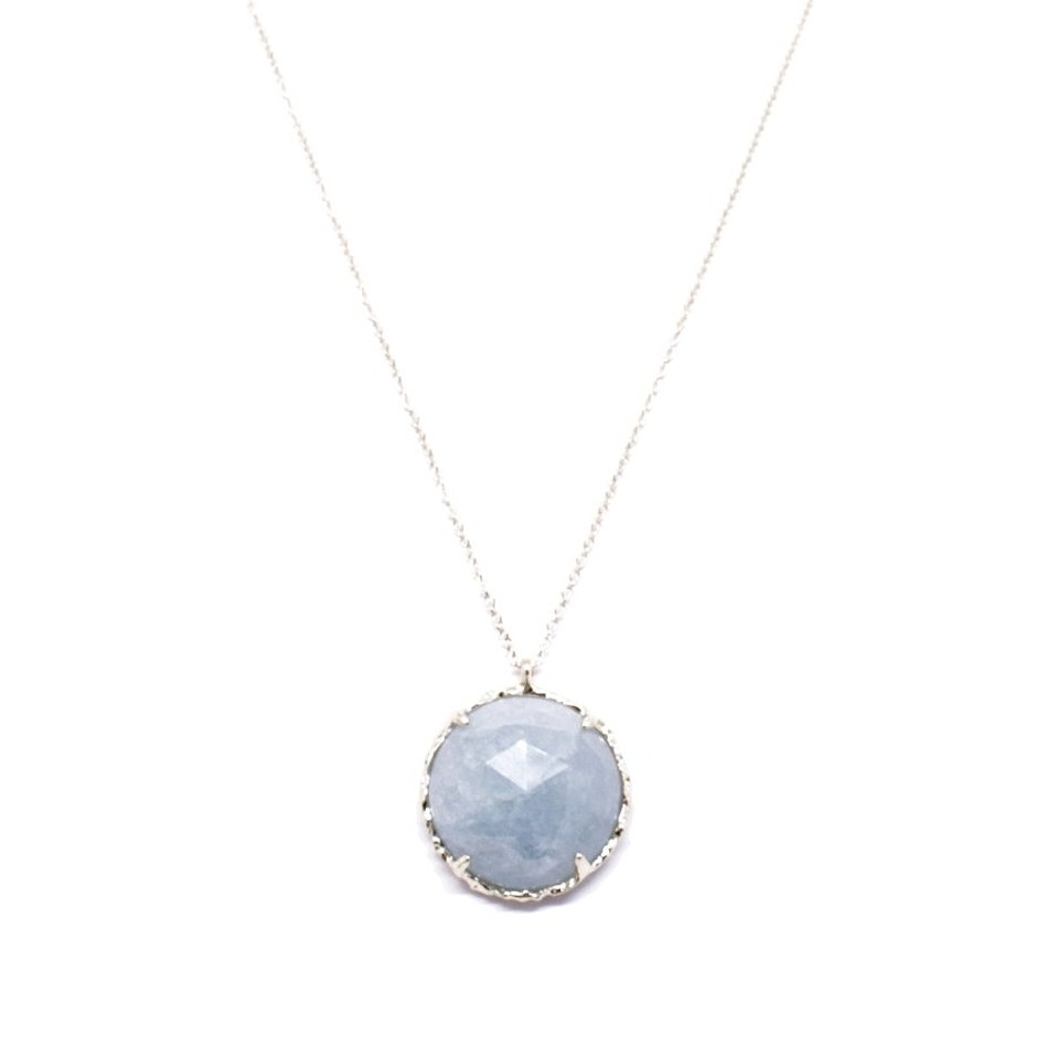 Round Necklace, Large, in Aquamarine