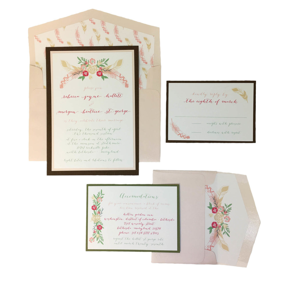Floral and Feather Invitation Suite
