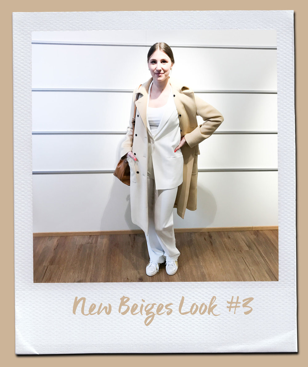 New Beiges Look #3 Mantel, Turnover 470,- Blazer, Patrizia Pepe 299,- Shirt, Patrizia Pepe 74,95 Hose, The Mercer 149,95 Tasche, 79,95 Sneakers, Voile Blanche 179,95