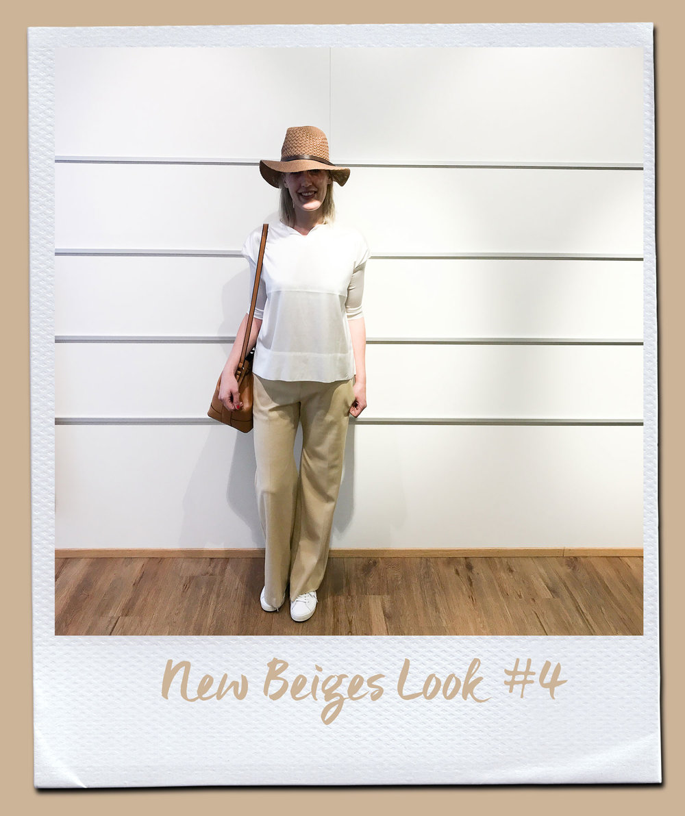 New Beiges Look #4 Bluse, Herzensangelegenheit 219,- Hose,Turnover 230,- Tasche 79,95 Hut 19,95 Sneakers, Voile Blanche 179,95