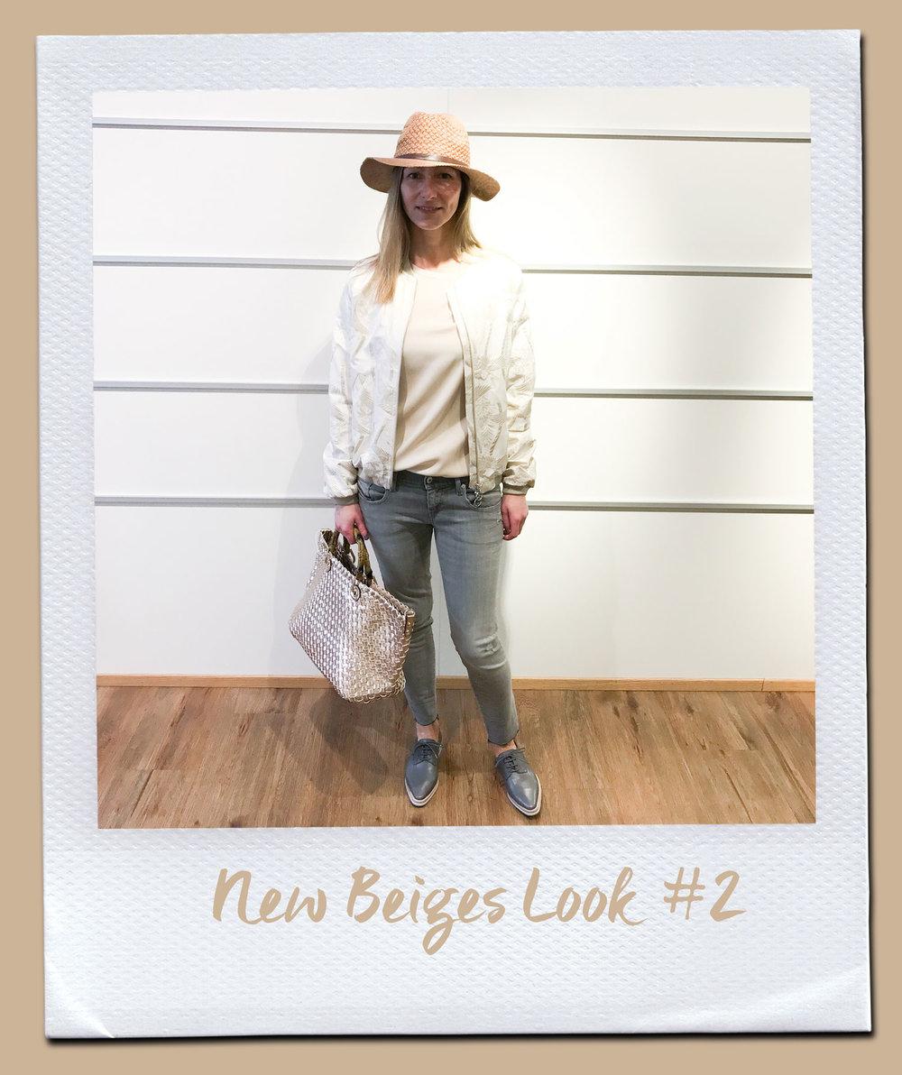 New Beiges Look #2  Bluse, Insieme 109,95 Blouson, Ten117 259,- Jeans, Diesel 159,95 Schnürer, Pomme D´or 249,- Hut 19,95 Tasche 89,95