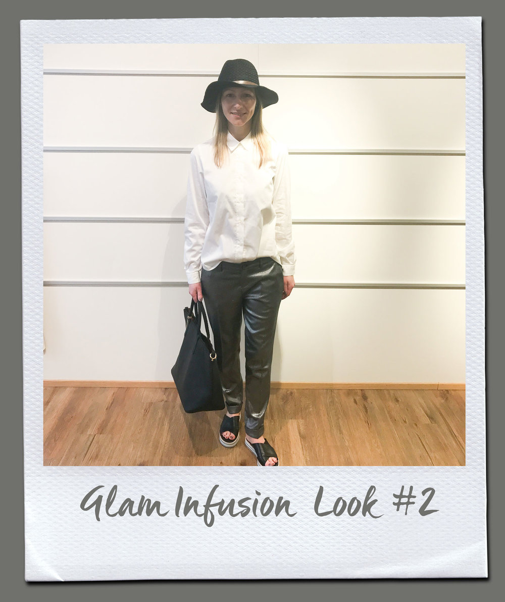 Glam Infusion Look #2  Bluse, Rosanna Diva 89,95 Hose, Liu Jo 169,95 Hut 19,95 Tasche 79,95 Sandalen, Pomme D´or 245,-