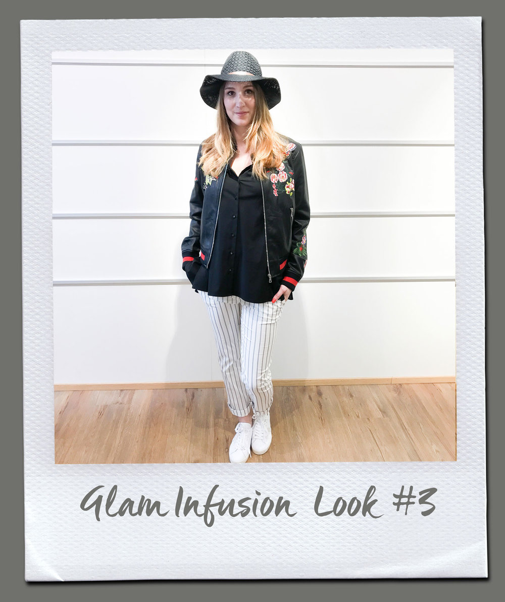 Glam Infusion Look #3 Bluse, Steffen Schraut 179,95 Hose, Patrizia Pepe 189,95 Jacke, King Kong 149,95 Hut 19,95 Sneakers, Date 159,95