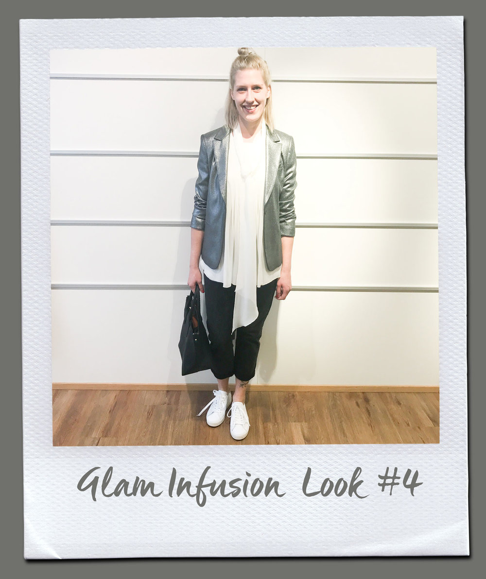 Glam Infusion Look #4 Bluse, The Mercer 159,95 Jeans, Denham 149,95 Jacke, Liu Jo 315,- Tasche 79,95 Sneakers, Date 159,95