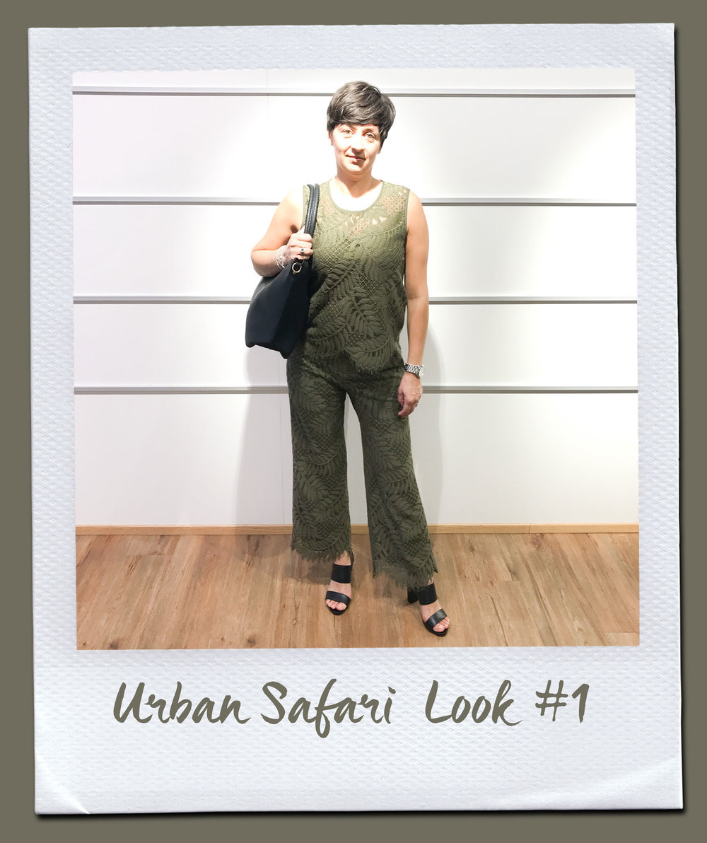 Urban Safari Look #1  Top, Seventy 149,95 Hose, Seventy 235,- Tasche 79,95 Sandalen, Café Noir 159,95