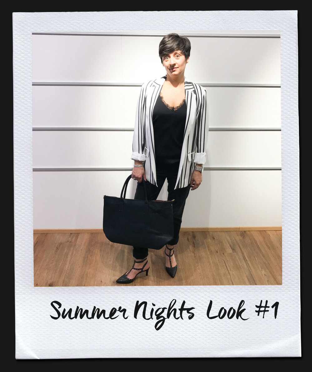 Summer Nights Look #1 Top, Imperial 69,95 Jeans, Diesel 179,95 Jacke, Liu Jo 189,95 Tasche 79,95 Pumps, Pedro Miralles 159,95