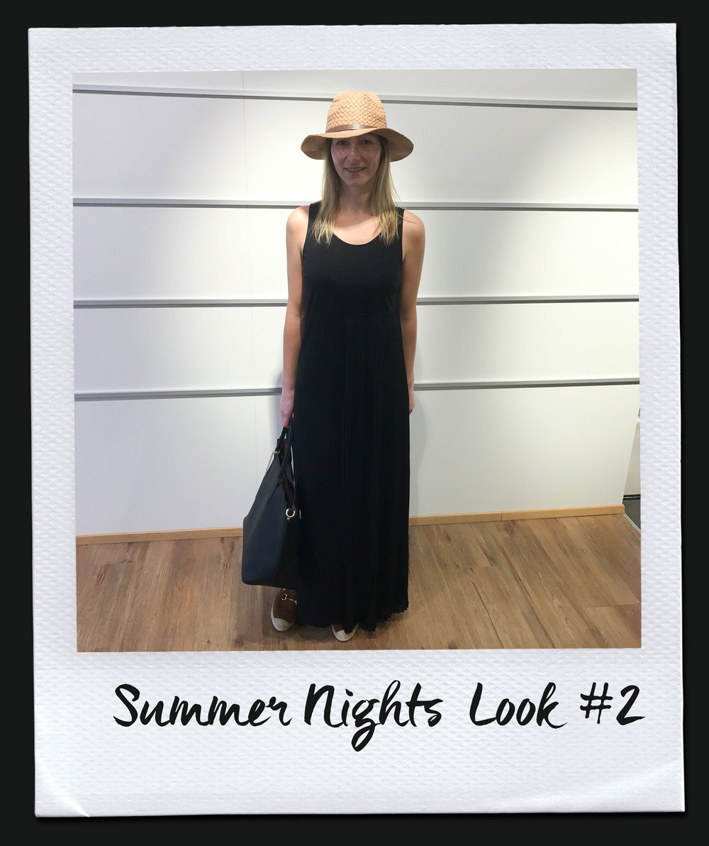 Summer Nights Look #2 Kleid, Liu Jo 169,95 Tasche 79,95 Hut 19,95 Espadrilles, Kanna 69,95