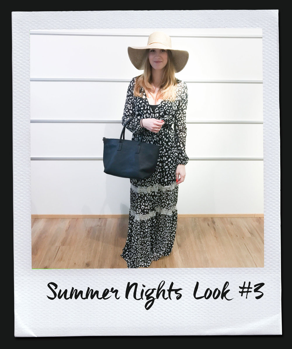 Summer Nights Look #3 Kleid, Liu Jo 239,- Tasche 69,95 Hut 24,95 Sandalen, Café Noir 99,95