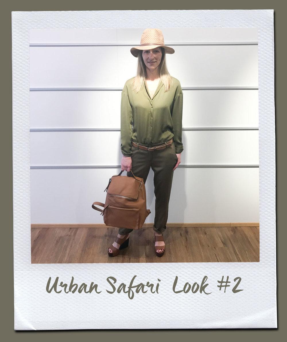 Urban Safari Look #2  Overall, Patrizia Pepe 379,- Gürtel, 24,95 Tasche 79,95 Hut, 19,95 Sandalen, Café Noir 149,95