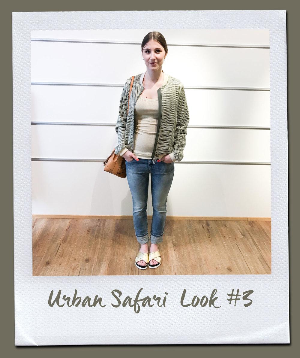 Urban Safari Look #3  Top, Vicolo 34,95 Jacke, Ten117 269,- Jeans, Diesel 150,- Tasche 79,95 Sandalen, Patrizia Pepe 109,95