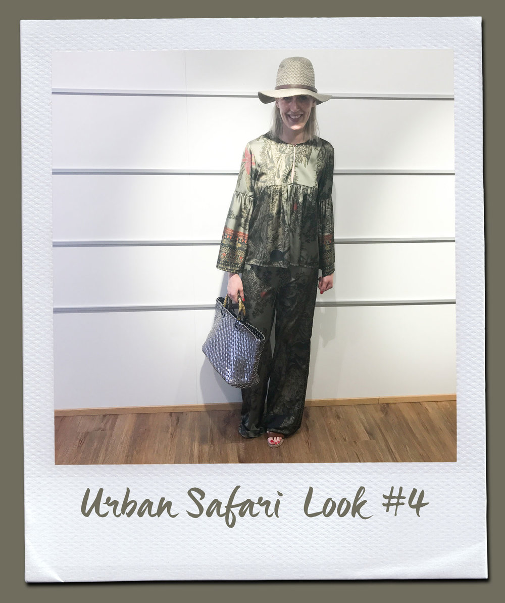 Urban Safari Look #4  Bluse, Compagnia Italiana 169,95 Hose, Compagnia Italiana 159,95 Tasche 89,95 Sandalen, Café Noir 99,95