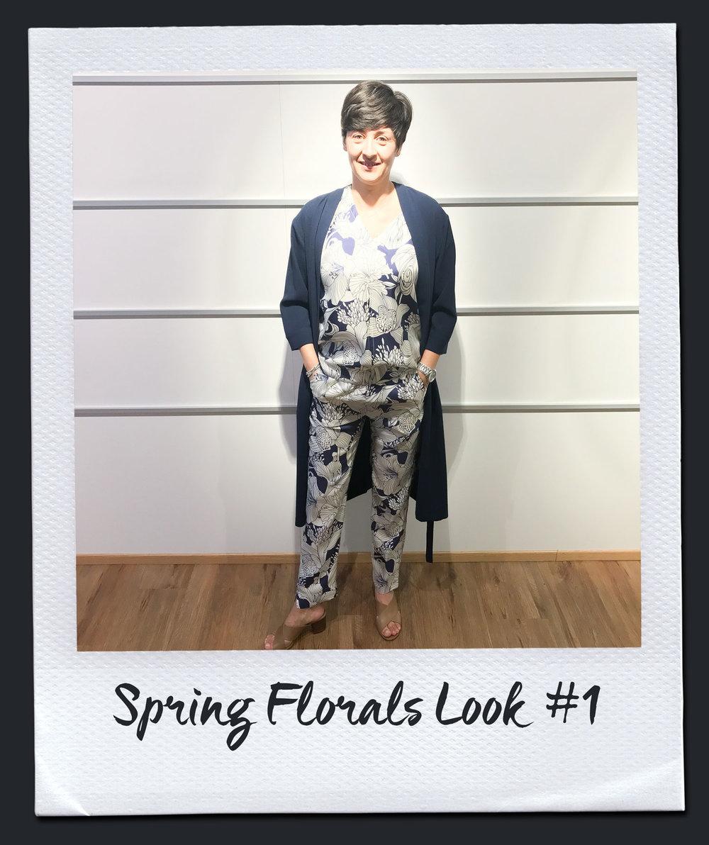 Spring Florals Look #1  Mantel, Steffen Schraut 299,- Bluse, Seventy 179,95 Hose, Seventy 199,95 Sandalen, Pomme D´or 99,95