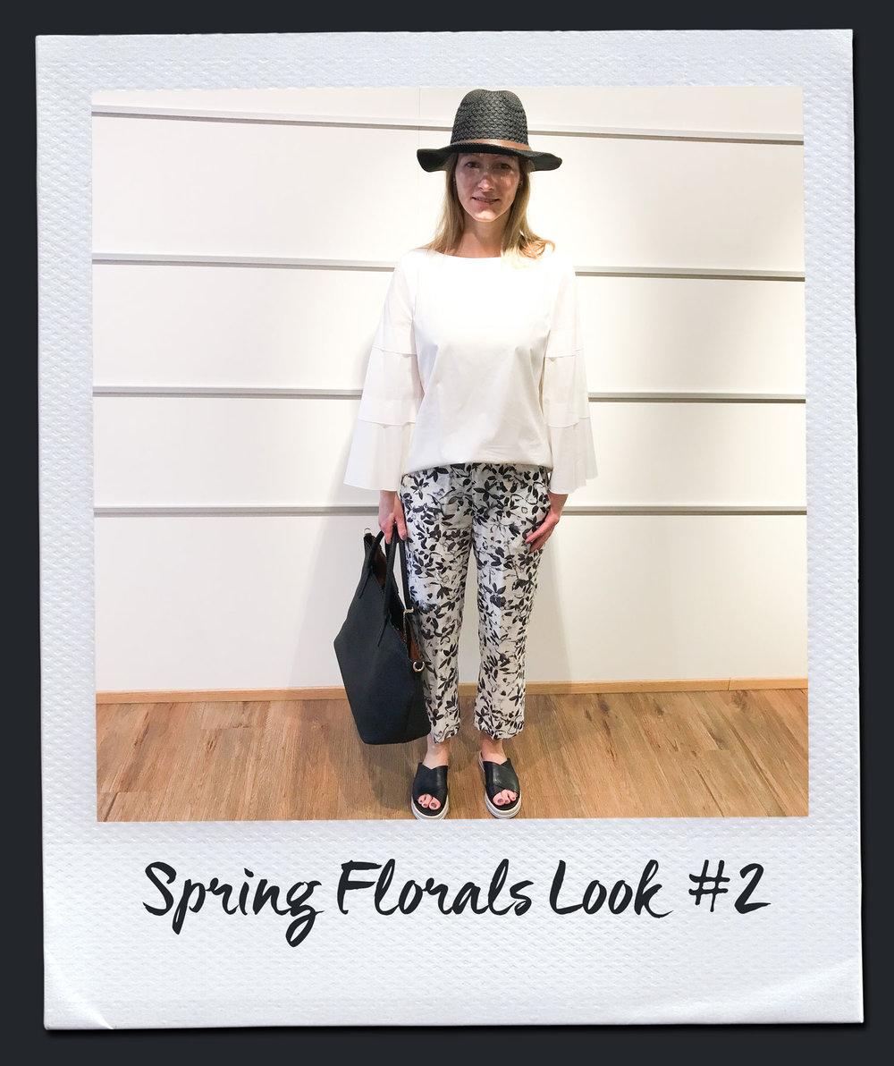 Spring Florals Look #2  Bluse, The Mercer 129,95 Hose, Patrizia Pepe 215,- Tasche, Antonello Sero 79.95 Hut 19,95 Sandalen, Pomme D´or 245,-