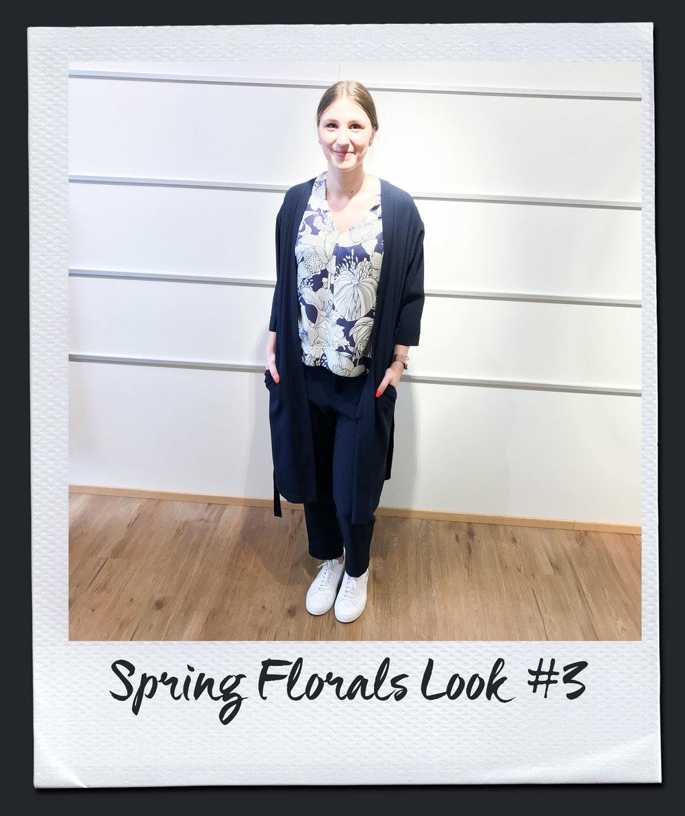 Spring Florals Look #3  Bluse, Seventy 179,95 Mantel, Steffen Schraut 299,- Hose, Steffen Schraut 229,- Sneakers, Voile Blanche 179,95
