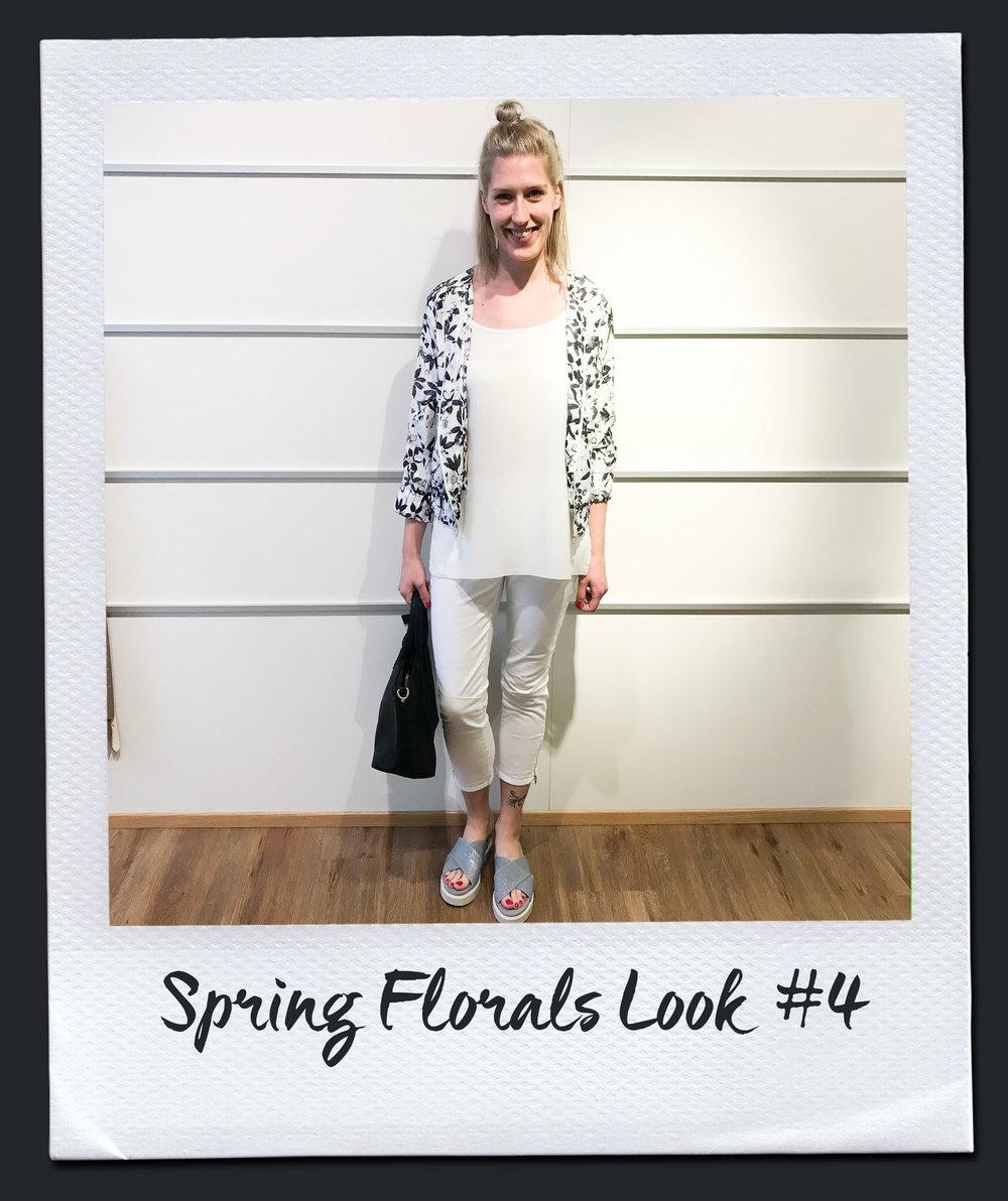 Spring Florals Look #4  Bluse, Seventy 179,95 Mantel, Steffen Schraut 299,- Hose, Steffen Schraut 229,- Sneakers, Voile Blanche 179,95