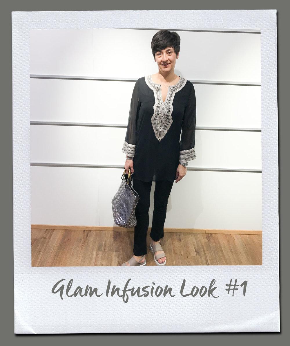 Glam Infusion Look #1  Bluse, Steffen Schraut 249,- Hose, Patrizia Pepe 179,95 Tasche 89,95 Sandalen, Fruit 199,95