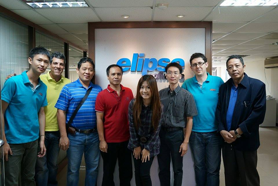 From left to right: Terry Liu – Elipse Taiwan's Technical Support Engineer, Alexandre B. Corrêa - Elipse's Development Director, Mr. Rolando Acas - President and General Manager of Acas Elektrik, Mr. Nurhaeni Hernowo – Manager at P.T. Winindo Karya Dinamika, Pearl Wang - Elipse Taiwan's Sales and Marketing Engineer, Mr. Nguyen Ky Anh – Deputy Director at Safe Energy, Julien Goy – Elipse Taiwan's Technical Support Senior Engineer, Dr. Abdul Manaf, professor at  Malang State Polytechnic. All at Elipse Software Taiwan in Kaohsiung, Taiwan