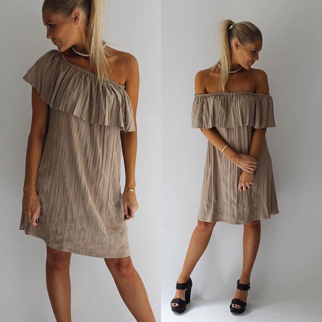 Beige Suede Bardot Dress ⭐️ #suededress #bardotdress #summerfavorite  shop: www.scarlettblacklondon.com