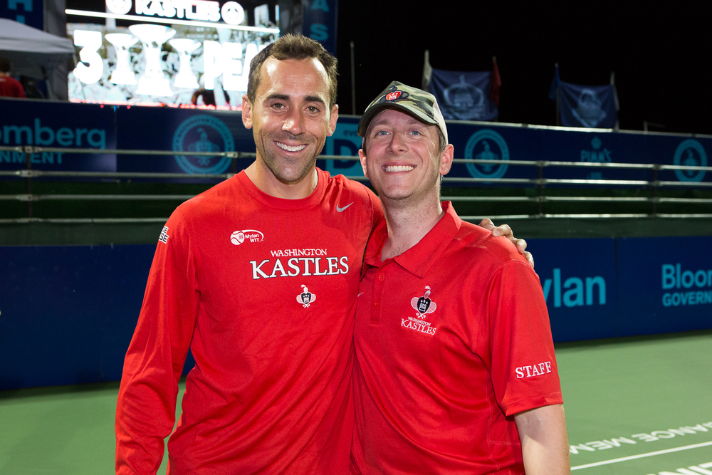 Bobby Reynolds (l) and I following the Washington Kastles third consecutive WTT Championship in 2013