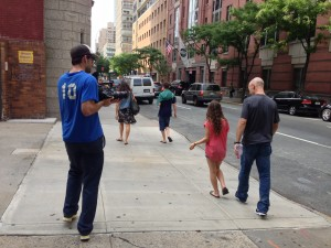 Director Chad Walker on the streets of NYC with Egyptian soccer coach Bob Bradley