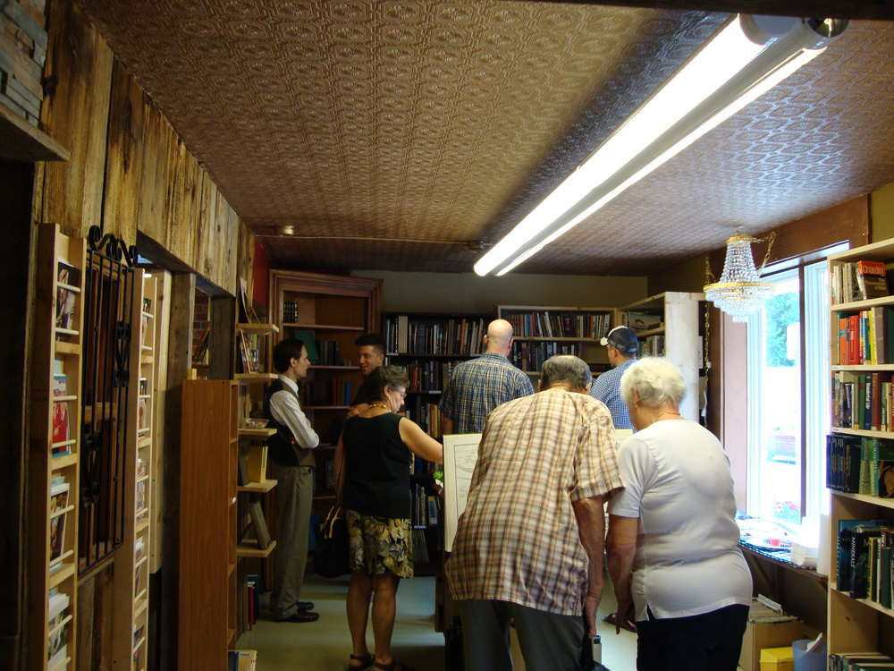 Customers browse the shelves on opening day.